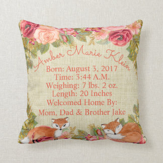 Birth Stats Baby Woodland Fox Throw Pillow