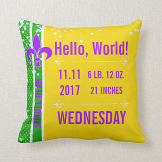 Birth Stats | Mardi Gras Fleur De Lis NOLA Throw Pillow