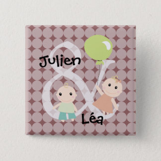 Birth twins girl boy balloon 03 swipes in 15 cm square badge