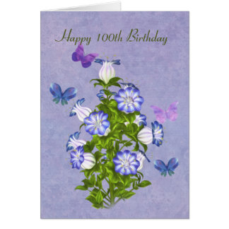 Birthday, 100th, Butterflies and Bell Flowers Card