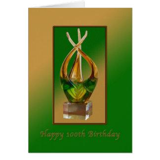 Birthday,  100th, Glass Sculpture Card