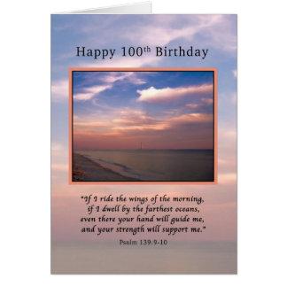 Birthday, 100th, Sunrise at the Beach, Religious Card