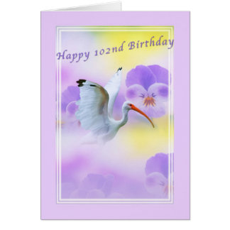 Birthday, 102nd, Ibis and Pansy Card