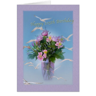 Birthday, 105th, Flowers and Birds Card