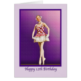 Birthday, 12th, Ballerina in Pink and White Card