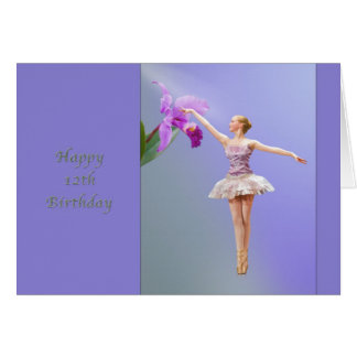 Birthday, 12th, Ballerina with Orchid Card