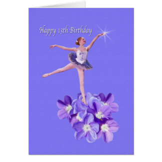 Birthday,  13th, Ballerina and Violets Card