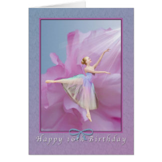 Birthday, 16th, Ballerina in Arabesque Card