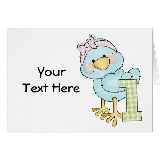 Birthday 1 Year Bird (customisable) Card