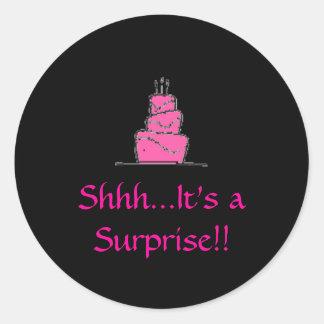 birthday%20cake, Shhh...It's a Surprise!! Round Sticker