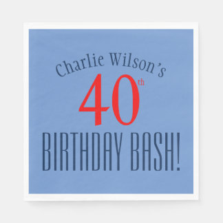 Birthday - 40th Birthday Bash! Party Plates Paper Napkins