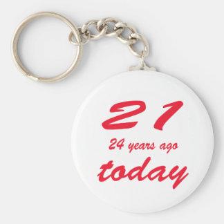 birthday 45 basic round button key ring