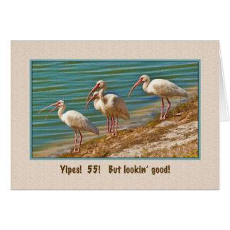 Birthday, 55th, Ibis Birds Card