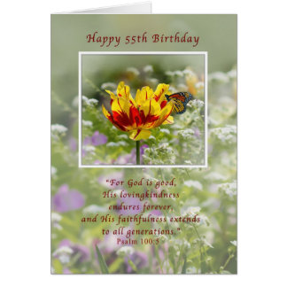 Birthday, 55th, Tulip and Butterfly, Religious Card