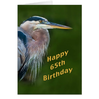 Birthday, 65th, Great Blue Heron Bird Note Card