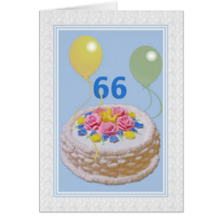 Birthday, 66th, Cake and Balloons Greeting Card