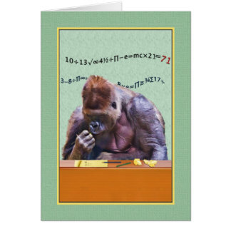 Birthday, 71st, Gorilla at Desk Card