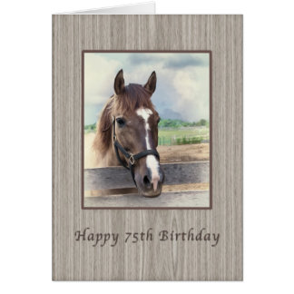 Birthday, 75th, Brown Horse with Bridle Greeting Card