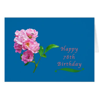 Birthday, 78th, Pink Garden Roses and Beetle Card