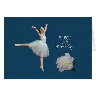 Birthday, 7th, Ballerina and White Peony Card