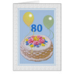Birthday, 80th, Cake and Balloons Greeting Card