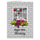 BIRTHDAY -80th-  LOOKING IN AT PARTY Greeting Card