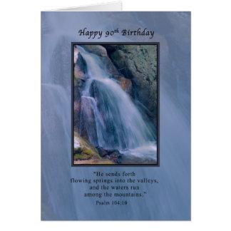 Birthday, 90th, Religious, Mountain Waterfall Card
