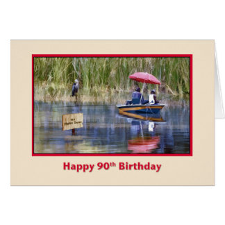 Birthday, 90th, Two Fishermen at the Lake Greeting Card
