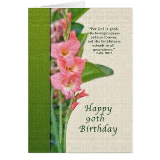 Birthday, 90th, with Pink Gladiolus Card