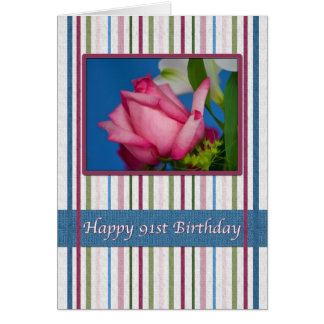 Birthday, 91st, Red Rose Greeting Cards
