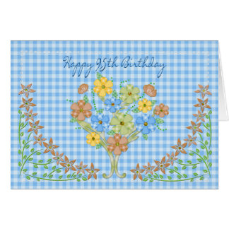 BIRTHDAY - 95th- BLUE GINGHAM/FLOWERS Greeting Card