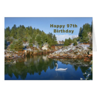 Birthday, 97th, Mountain Lake, Swan Card