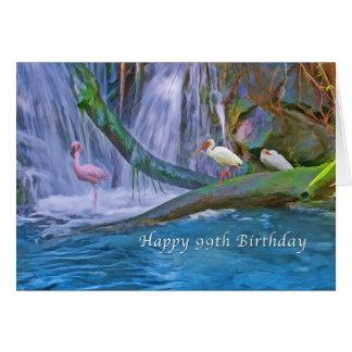 Birthday, 99th, Tropical Waterfall, Birds Card
