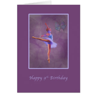 Birthday, 9th, Ballerina in Arabesque Greeting Card
