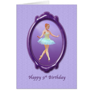 Birthday, 9th, Ballerina in Purple and Lavender Greeting Card