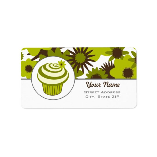 Birthday Address Label - Green Cupcake And Flowers
