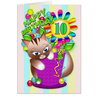 Birthday - Age 10 - Kitty Cat Celebrating Card