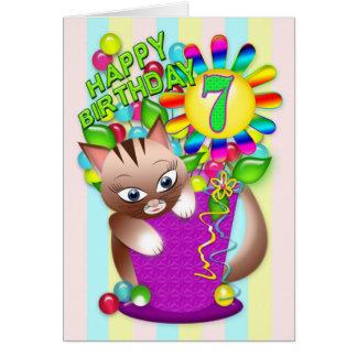 Birthday - Age 7 - Kitty Cat Celebrating Card