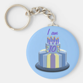 Birthday Age Cake (Blue) Basic Round Button Key Ring