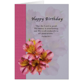 Birthday, Alstroemeria Flowers, Religious, Card