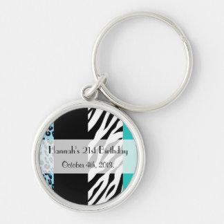 Birthday - Animal Print, Zebra, Leopard - Blue Key Ring