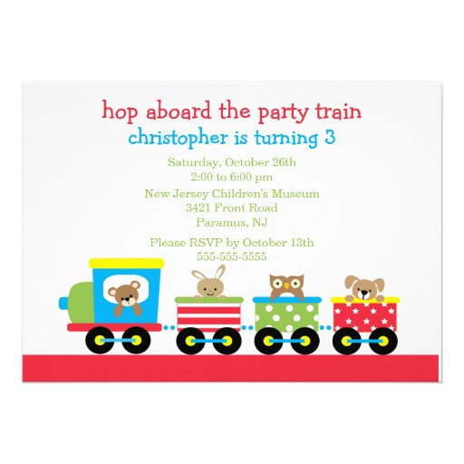 Birthday Animal Train Birthday Invitation