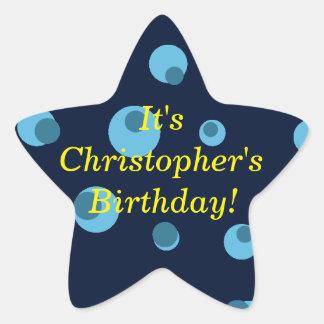 """""""Birthday Announcement"""" - Dotted Blue Design [1] Star Sticker"""