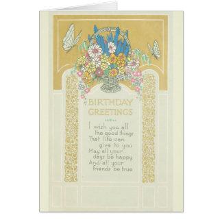Birthday Art Deco Flowers Greeting Card