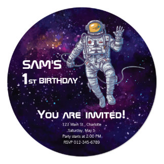 Birthday. Astronaut in Space with Stars & Galaxy. Card