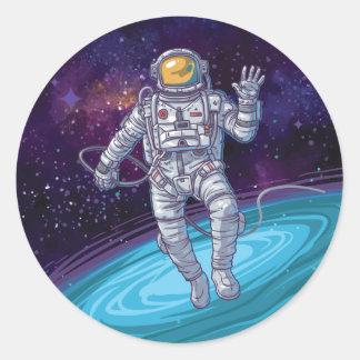 Birthday. Astronaut in Space with Stars & Galaxy. Classic Round Sticker