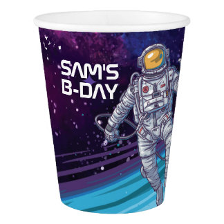 Birthday. Astronaut in Space with Stars & Galaxy. Paper Cup
