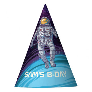 Birthday. Astronaut in Space with Stars & Galaxy. Party Hat