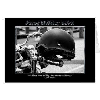 BIRTHDAY - BABE - BIKER HELMET CARD
