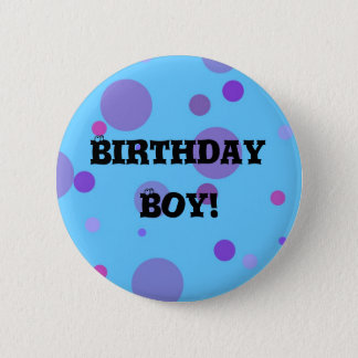 Birthday Badge Blue Polka Dots